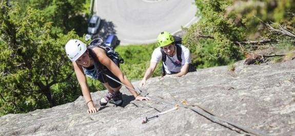 Gli allievi del corso in arrampicata