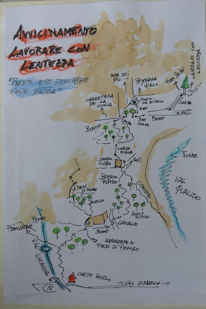 Il sentiero per raggiungere le vie sulla parete est del Precipizio degli Asteroidi - by Simone Pedeferri