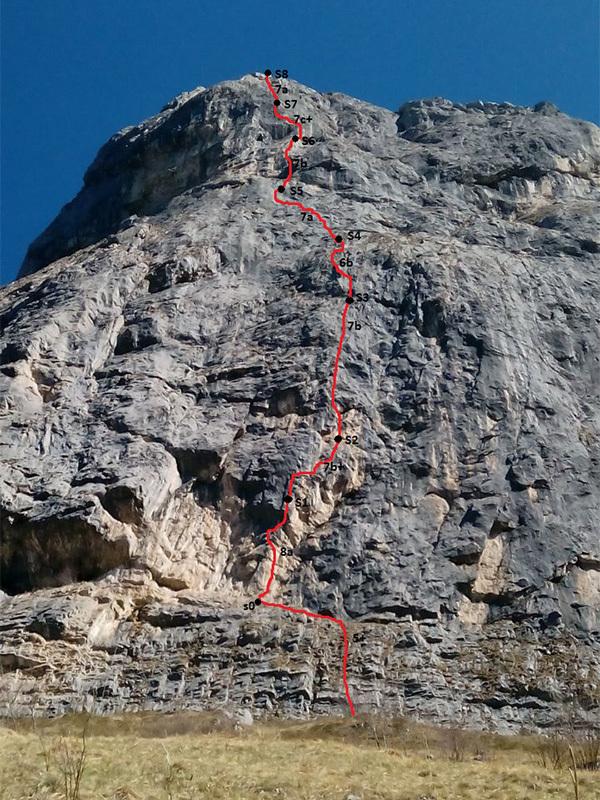 Il tracciato della via If al Sasso Cavallo di Matteo Della Bordella e Eugenio Pesci