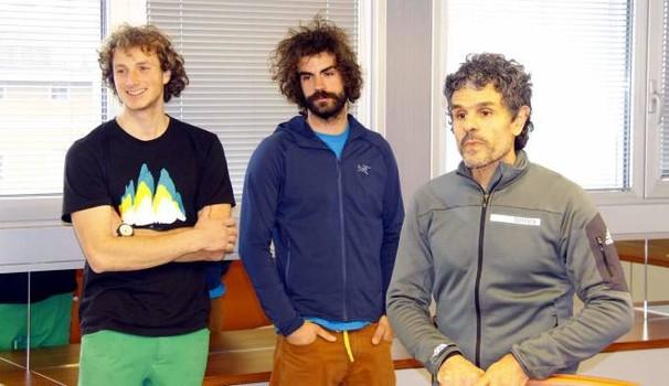 Da sinistra Luca Schiera, Paolo Marazzi e il presidente dei Ragni Fabio Palma