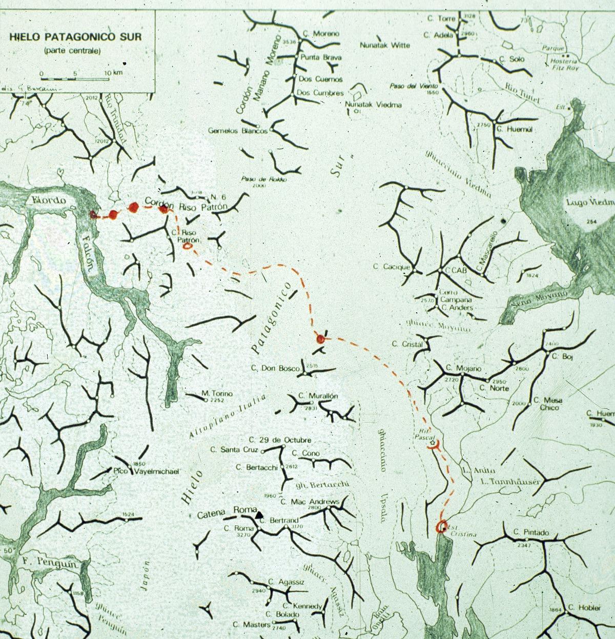 La mappa della traversata ovest-est dello Hielo